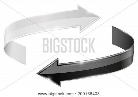 Black and white arrows in circular motion. Vector 3d illustration isolated on white background