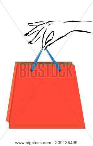 vector illustration with scene of the feminine hand and package in with buying in shop