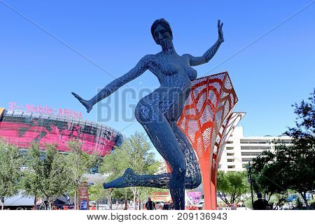 LAS VEGAS - October 07 : The Bliss Dance Sculpture display at the T-Mobile park in Las Vegas on October 07, 2017. The 40-foot-tall sculpture of a dancing woman created by artist Marco Cochrane.
