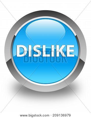 Dislike Glossy Cyan Blue Round Button
