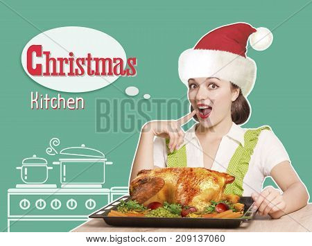 Woman With Red Santa Hat Cooks Roast Christmas Turkey .collage Kitchen Background