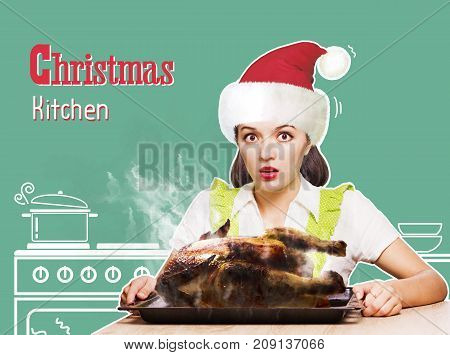Christmas Kitchen.young Woman Overlooked Roast Chicken In Her Kitchen