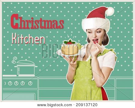 Attractive Woman And Sweet Christmas Biscuit In Her Hand.collage Kitchen Background