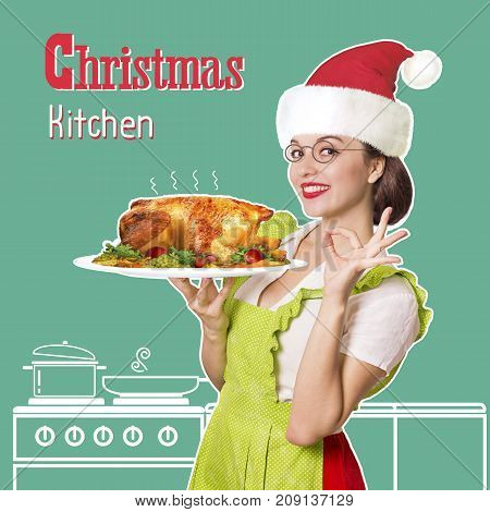 Christmas Kitchen.smiling Woman Holding Roasted Chicken