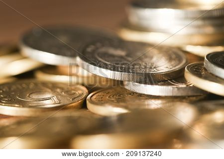 coin. A close-up . Photos in the studio