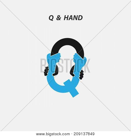 Q - Letter abstract icon & hands logo design vector template.Italic style.Business offer, Partnership, Hope, Help, Support or Teamwork sign.Corporate business & education logotype symbol.Vector illustration