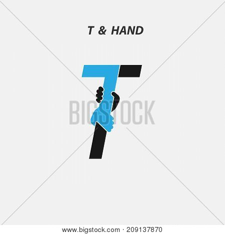 T - Letter abstract icon & hands logo design vector template.Italic style.Business offer, Partnership, Hope, Help, Support or Teamwork sign.Corporate business & education logotype symbol.Vector illustration
