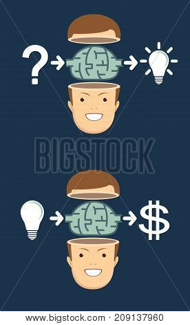 the process of finding a solution and money. thinking or problem solving business concept. Stock flat vector illustration.