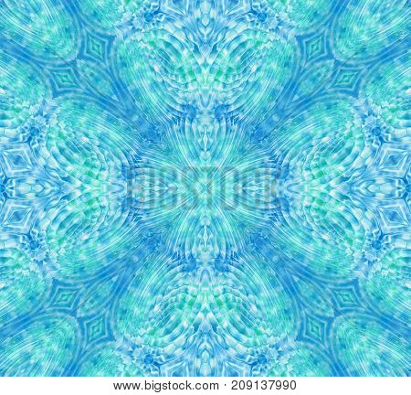 Abstract blue and green ripples concentric pattern