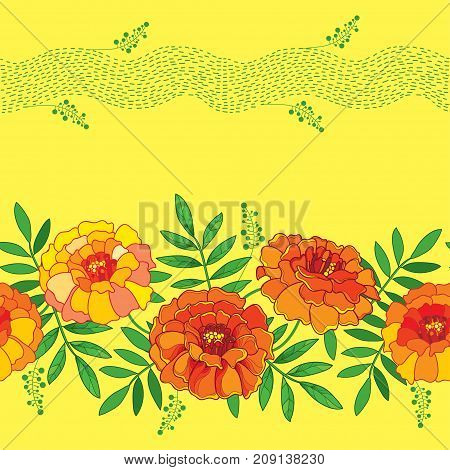 Vector seamless pattern with outline orange Tagetes or Marigold flower, green foliage and stripes on the yellow background. Floral pattern in contour style for summer design.