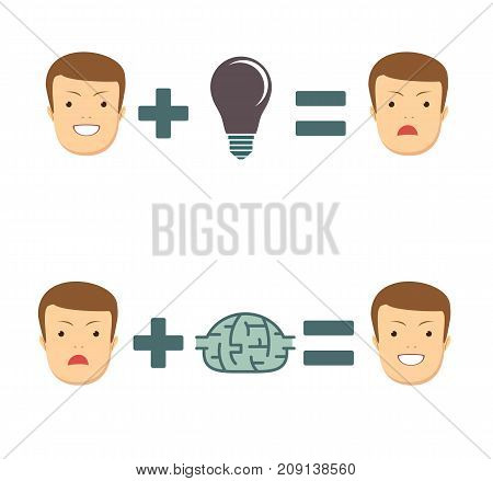 Ideas and solutions makes you smile or sad. Business concept no ideas lamps. Stock vector illustration for poster, greeting card, website, ad, business presentation, advertisement design.