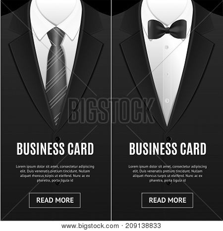 Business Card Bow Tie and Necktie Vecrtical Set for Wedding, Party, Official Ceremony or Celebration. Vector illustration of Cards Banners