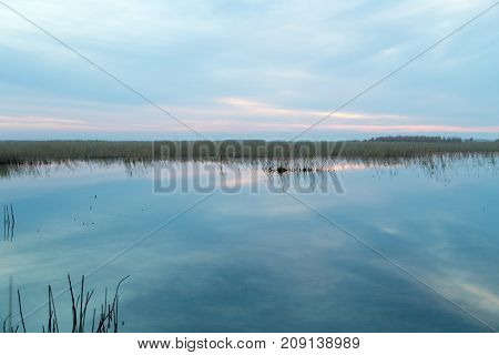 beautiful sunrise on the lake . In the park in nature