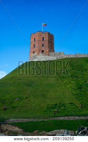 Vilnius Lithuania - August 14 2017: Gediminas' Tower (the first wooden fortifications were built by Gediminas Grand Duke of Lithuania; the first brick castle was completed in 1409 by Grand Duke Vytautas; the three-floor tower was rebuilt in 1930 by Jan Bo