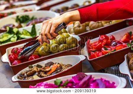 food court shopping mall with vegetables and meat