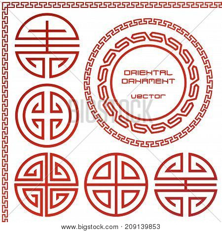 Set of vector ornament typical for Asian peoples