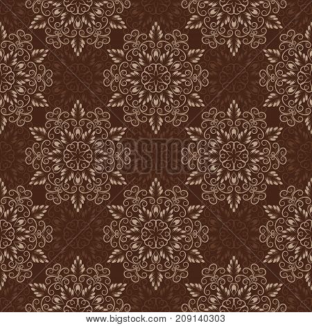 Seamless Floral Mandala Pattern over Brown Coffee color. Seamless pattern for your designs, invitation card, yoga, meditation, astrology and other wrapped projects.
