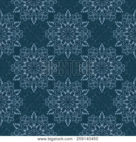 Seamless Floral Mandala Pattern over blue color. Seamless pattern for your designs, invitation card, yoga, meditation, astrology and other wrapped projects.