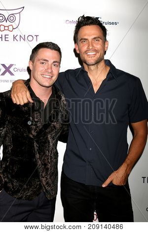 LOS ANGELES - OCT 12:  Colton Haynes, Cheyenne Jackson at the Tie The Knot Celebrates 5-Year Anniversary at the NeueHouse on October 12, 2017 in Los Angeles, CA