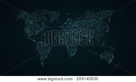 Abstract world map. Blue map of the earth from the square points. Dark background. Blue glow. High tech. Sci-fi technology. Global network. Vector illustration