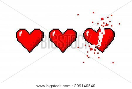 Vector pixel art 8 bit style hearts for game. Colorful stylized illustration with concept of spendable lives game mode or human health. Two full hearts and heart broken apart
