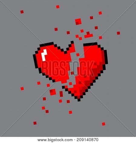 Vector pixel art 8 bit style broken heart for game. Colorful stylized illustration with concept of spendable lives game mode. Heart shattered to pieces.