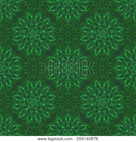 Seamless Floral Mandala Pattern over Green color. Seamless pattern for your designs, invitation card, yoga, meditation, astrology, religion and other wrapped projects.