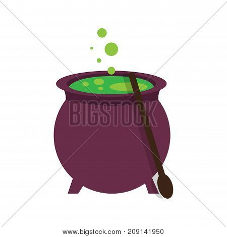 Isolated witch cauldron on a white background, Vector illustration