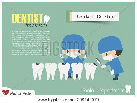 Dentist Check Up Your Teeth And Look For Dental Caries . Vector . Flat Design