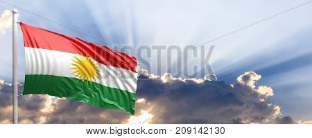 Kurdistan waving flag on blue sky. 3d illustration