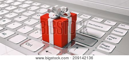 Buying gifts online. Keyboard and red gift box closeup. E-commerce on holidays concept. 3d illustration