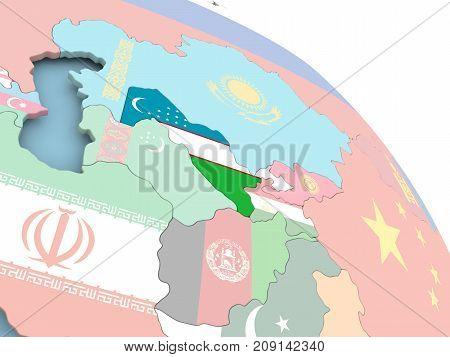 Flag Of Uzbekistan On Globe