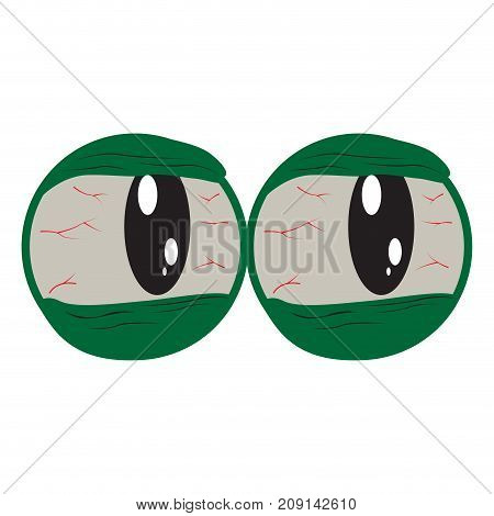 Halloween mask with only eyes isolated on white, Vector illustration