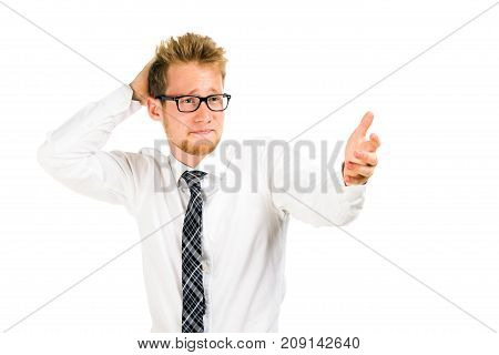 Half length portrait of a smart young businessman isolated on white background.