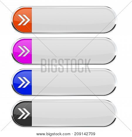 White buttons with colored arrow tags. Menu interface elements with metal frame. Vector 3d illustration isolated on white background