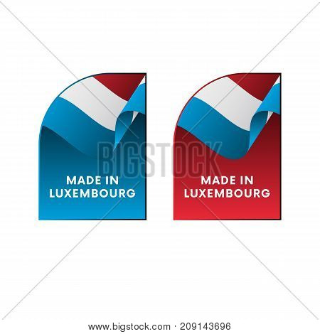 Stickers Made in Luxembourg. Waving flag. Vector illustration.