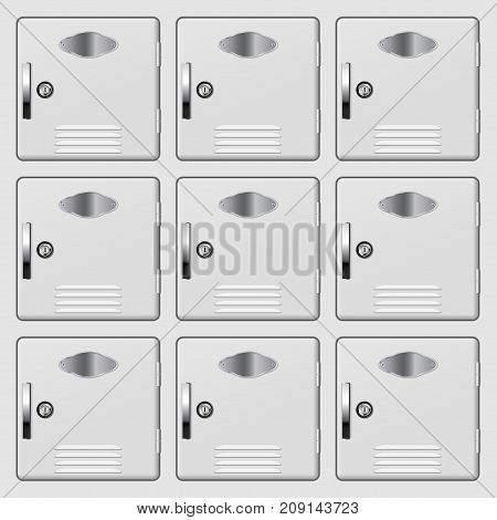 Personal deposit safe box. White safe. Vector illustration