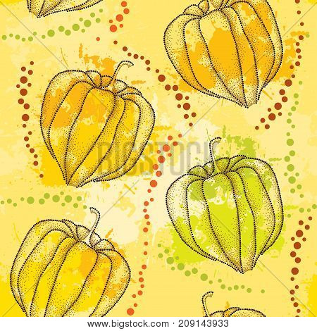 Vector seamless pattern with dotted Physalis or Cape gooseberry or Ground cherry fruits on the pastel background with blots. Pattern with Physalis plant in dotwork style for autumn design.