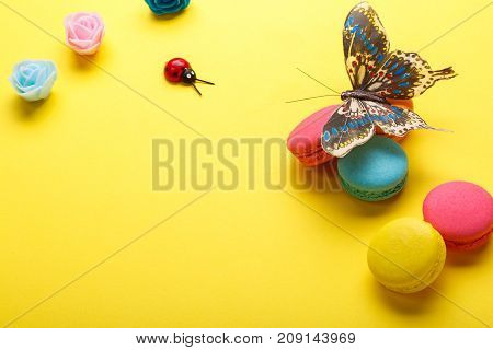 A photo of various macaroons and a butterfly roses ladybug. shot from above on a yellow paper background with a place for text