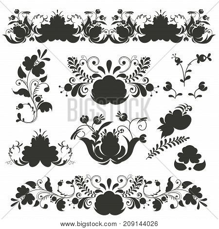 Russian ornaments art frames in gzhel style painted black silhouette flower traditional folk bloom branch pattern vector illustration. Ornamental national leaf nature souvenir blossom.