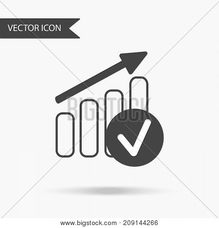 Modern And Simple Flat Vector Illustration. Business Graph Icon. An Image In The Growth Chart For A