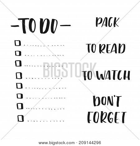 Lettering words for lists templates: to do, to pack read watch, don't forget - modern calligraphy for planing