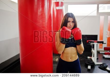 Young Beautiful Woman, Wear On Boxing Gloves Doing Exercises And Working Hard In Gym And Enjoying He