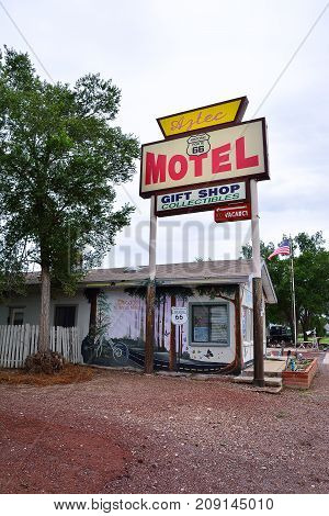 Sign Of Aztec Motel In Seligman.