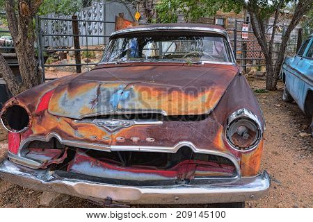 Hackberry, Arizona, Usa - July 24, 2017: Red old abandoned Desoto car at Hackberry General Store, Arizona along historic route 66.