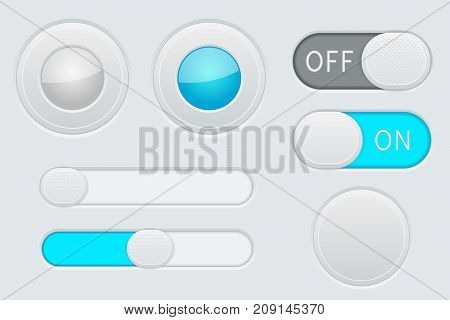Gray and blue interface elements - button, slider, toggle switch. Vector 3d illustration