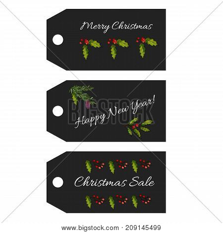 Collection of Christmas  sale tags. Vector illustration