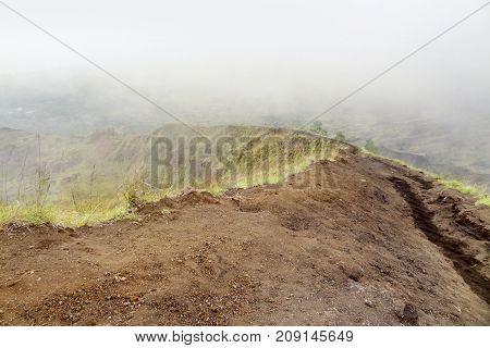 volcano rim scenery around a volcano named Mount Batur in Bali Indonesia