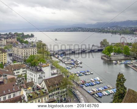 High angle view of Zurich the largest city in Switzerland
