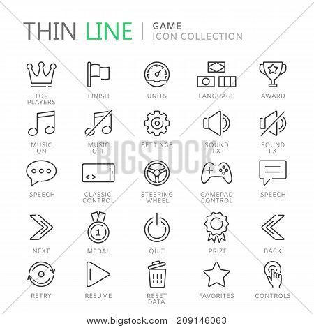 Collection of game thin line icons. Vetor eps10